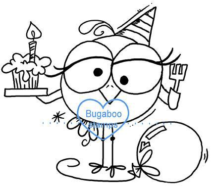 Digi stamps,BUGBDAYBIRD1 birthday bird 01,Bugaboo Stamps,