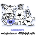 Birthday Puppies Digi stamps, Images, clip art, coloring pages and illustrations. www.bugaboostamps.com