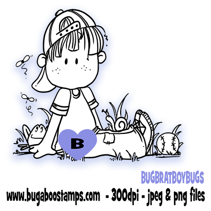 Boy and his Bugs image Digi stamps, clip art, illustrations from Bugaboo Stamps