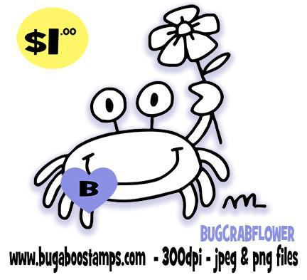 Cute Simple Crab with flower image  Digi stamps, clip art, coloring pages and illustrations from Bugaboo Stamps