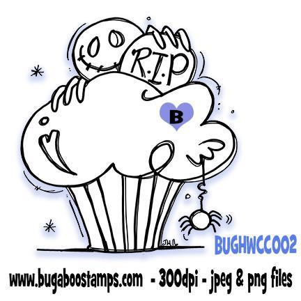Digi Stamps,Halloween Cupcake 002,Bugaboo Stamps,