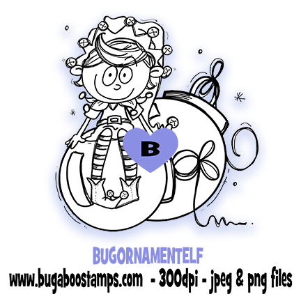 Ornament Elf Digi Stamp  Images, Digi stamps, clip art, coloring pages and illustrations from Bugaboo Stamps
