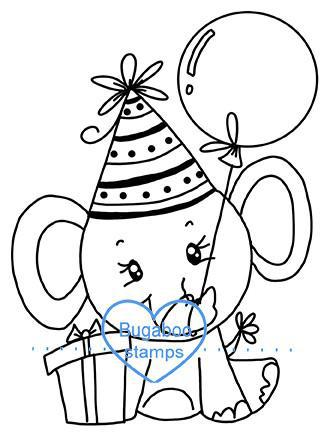 Digi Singles, BUGSCEBDAY01 simple cute birthday elephant 01,Bugaboo Stamps,