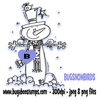 Digi Singles,BUGSNOWBIRDS snowman and birds,Bugaboo Stamps,