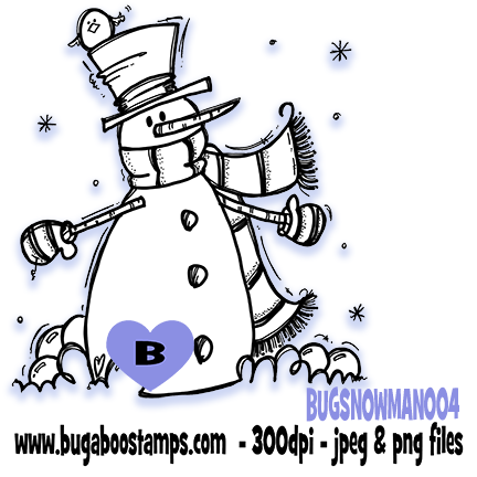 Digi Singles,BUGSNOWMAN004,Bugaboo Stamps,