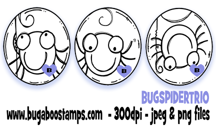 Digi stamps,Halloween Spider Trio,Bugaboo Stamps,