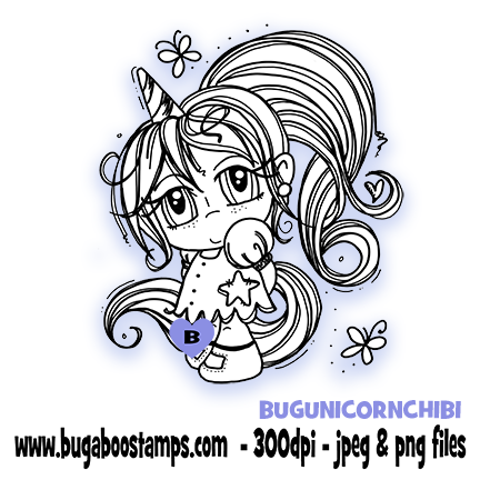 Cute Unicorn Chibi Girl Digi Stamp  Images, Digi stamps, clip art, coloring pages and illustrations from Bugaboo Stamps