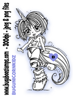 Cute Unicorn Girl Digi Stamp  Images, Digi stamps, clip art, coloring pages and illustrations from Bugaboo Stamps