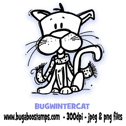 Digi Stamp,winter cat,Bugaboo Stamps,