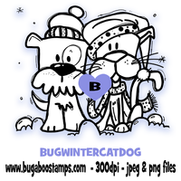 Digi stamps,winter cat and dog,Bugaboo Stamps,