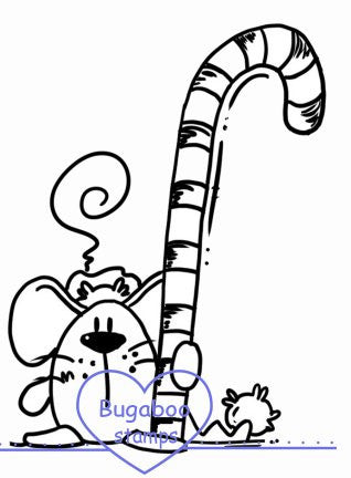 Candy Cane Mouse Digi stamps, Images, clip art, coloring pages and illustrations from Bugaboo Stamps