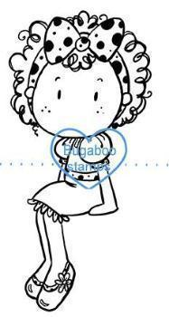Digi stamps,curly hair girl sitter,Bugaboo Stamps,