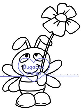 Cute Bee with a flower image  Digi stamps, clip art, illustrations from Bugaboo Stamps
