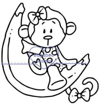 Digi stamps,banana monkey,Bugaboo Stamps