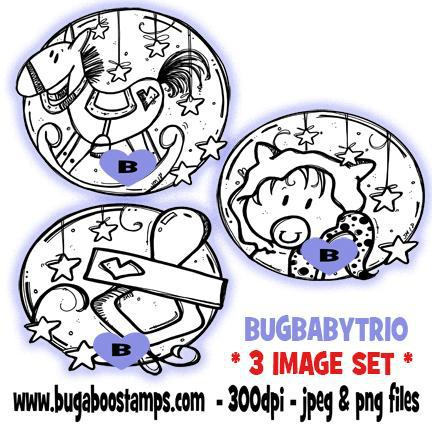 digi stamps and clip art kids baby circle trio baby rocking horse suther image set Bugaboo Stamps