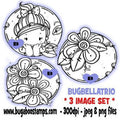 digi stamps and clip art kids bella circle trio girl flowers ladybugs image set Bugaboo Stamps