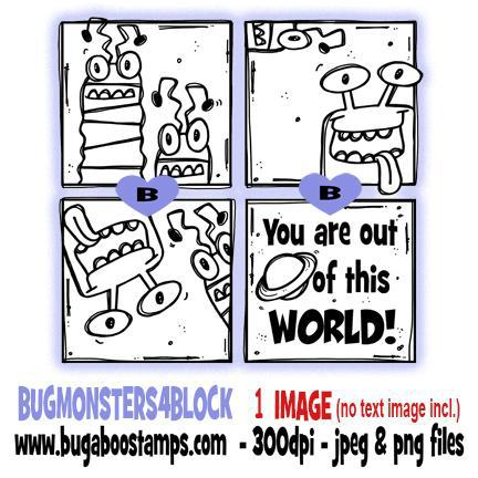digi stamps and clip art monsters 4 block from Bugaboo Stamps