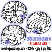 digi stamps and clip art kids unicorn circle trio unicorn cloud rainbow image set Bugaboo Stamps