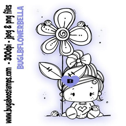 Digi Stamps,Clip art,Kidz Ladybug Flower Bellla Girl,Bugaboo Stamps