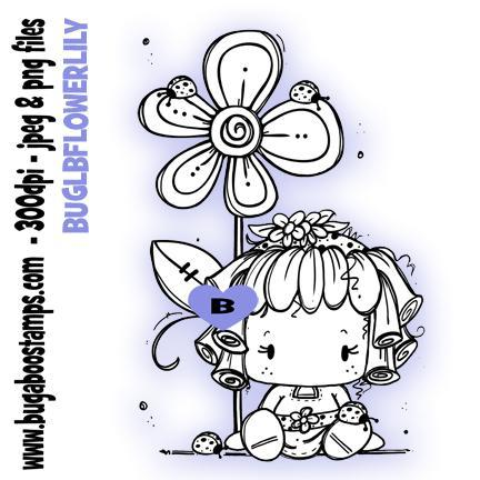 Digi Stamps,Clip art,Kidz Ladybug Flower Lily Girl,Bugaboo Stamps