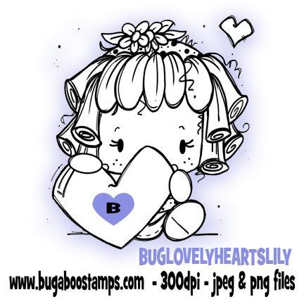 Digi Stamps,Clip art,Kidz Lovely Hearts Lily Girl,Bugaboo Stamps