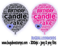 digi stamps,birthday balloon word art,bugaboo stamps