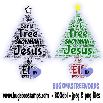 digi stamps,christmas tree word art,bugaboo stamps