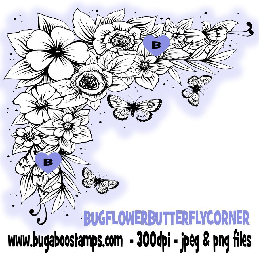 digi stamps,clipart and illustrations, beautiful floral butterfly corner,Bugaboo Stamps