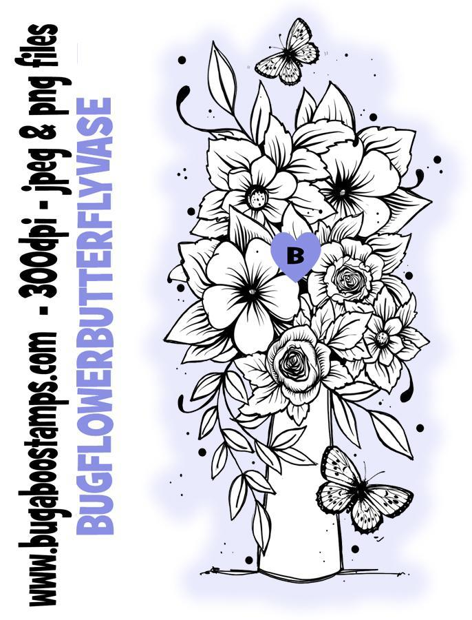 digi stamps,clipart and illustrations, beautiful floral butterfly vase bouquet,Bugaboo Stamps