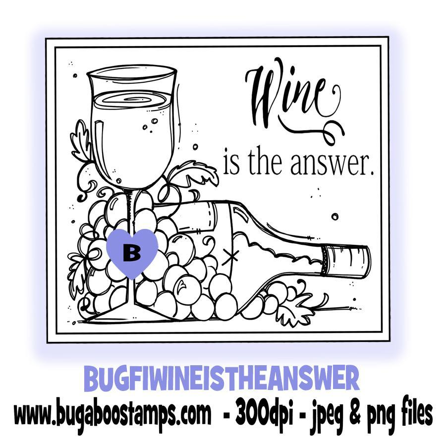 digi stamps,clip art,illustrations,wine is the answer,Bugaboo Stamps