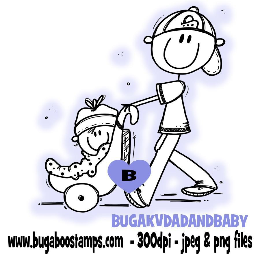 digi stamps,clip art, illustrations, AKV stick people dad and baby, fathers day, Bugaboo Stamps