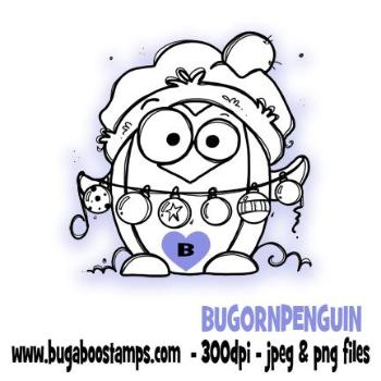 digi stamps,ornaments penguin winter bird,bugaboo stamps