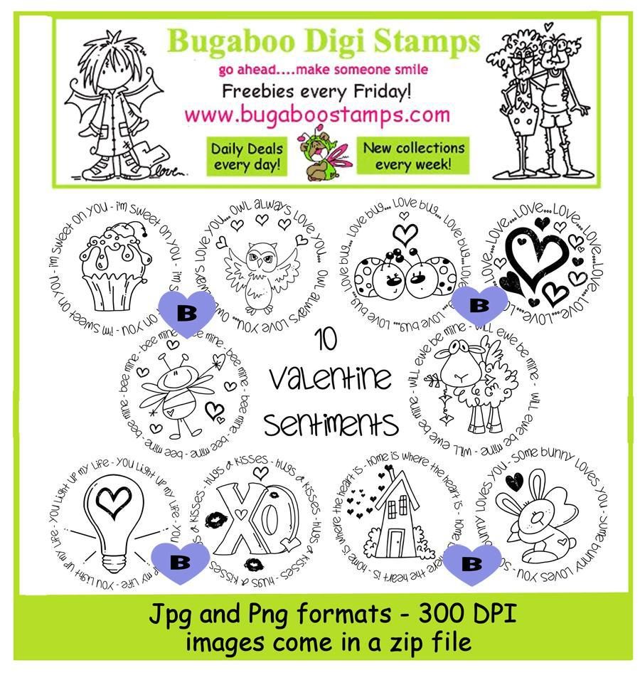 Digi Stamps,Valentine Love Circle Sentiments,Bugaboo Stamps,