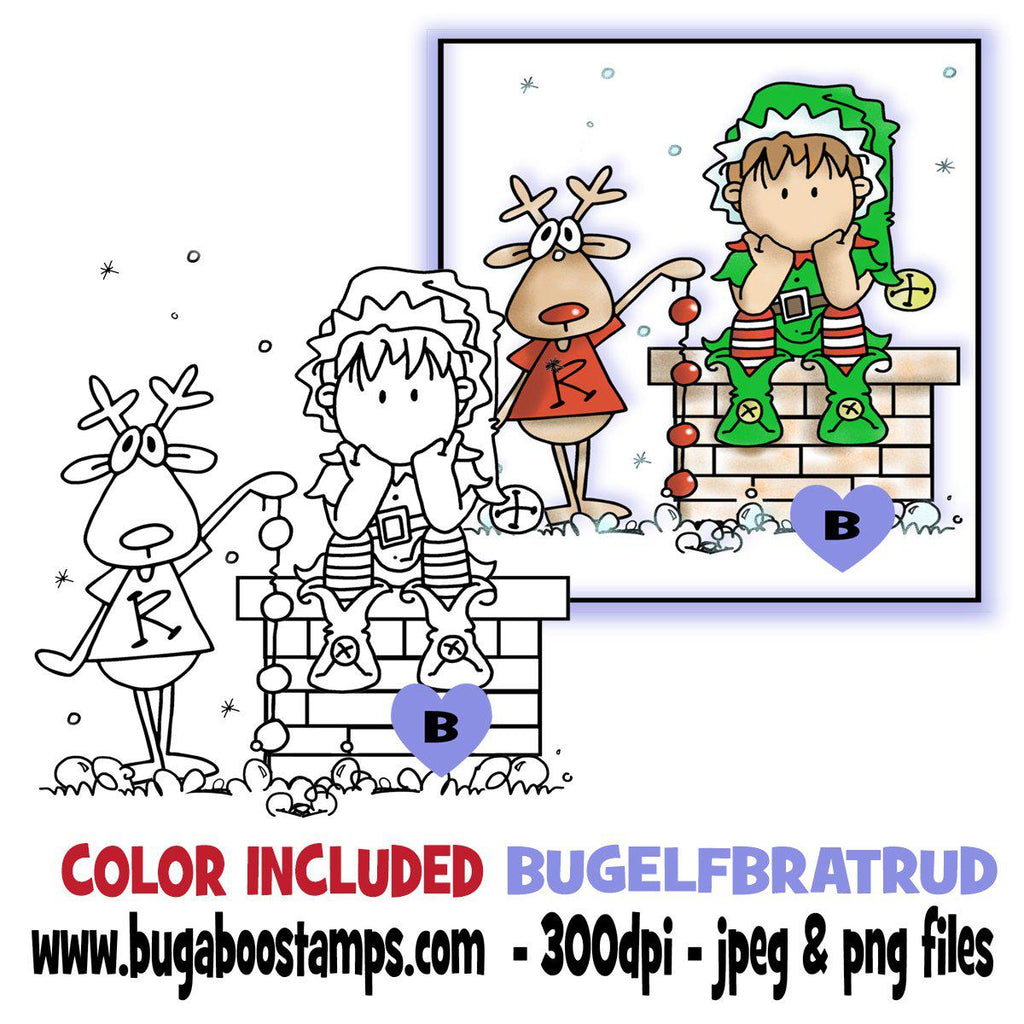Elf Brat and Rudolph Digi Stamp  Images, Digi stamps, clip art, coloring pages and illustrations from Bugaboo Stamps