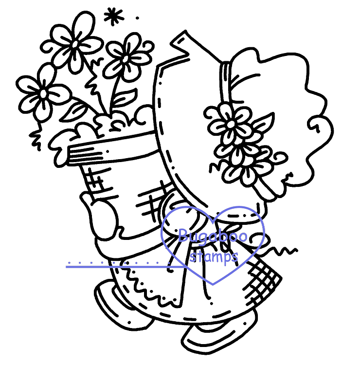 cute sunbonnet digi stamp, clip art, illistration from Bugaboo Stamps