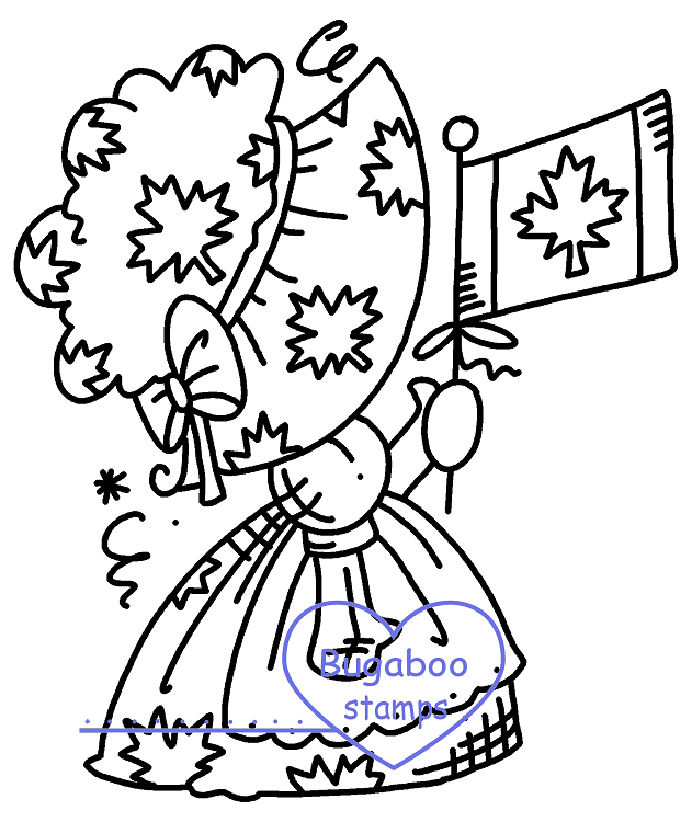 Sunbonnet July Canada Digi stamps, Images, clip art, coloring pages and illustrations from Bugaboo Stamps