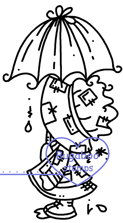 Sunbonnet Umbrella Digi stamps, Images, clip art, coloring pages and illustrations from Bugaboo Stamps