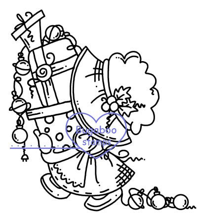 Sunbonnet Christmas Stuff Digi stamps, Images, clip art, coloring pages and illustrations from Bugaboo Stamps