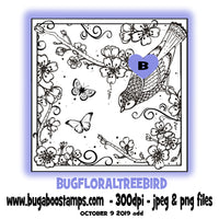 Floral Tree Bird images, clipart and illustrations from Bugaboo Digi STamps