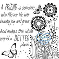 Digi Singles,friend flower doodles coloring page,Bugaboo Stamps,