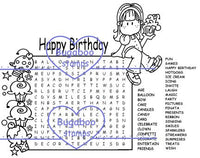 Digi Singles, Word Search - Brat Birthday Girl,Bugaboo Stamps,