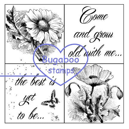 Digi Singles,Word art/ Sentiments,4 square - Grow old with me,Bugaboo Stamps,