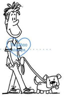 Guy Walking Dog Digi Stamps, clip art, illustrations  from Bugaboo STamps