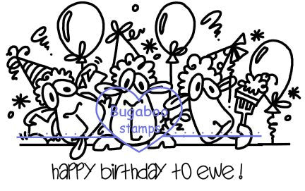 Digi Singles, Topper - happy birthday to ewe trio,Bugaboo Stamps,