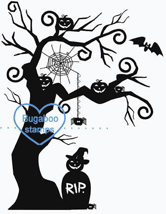 Digi stamps,halloween pumpkin tree,Bugaboo Stamps,