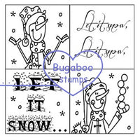 Word art/ Sentiments,Digi Singles, 4 square - Let it Snow,Bugaboo Stamps,