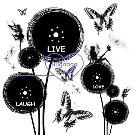 Digi Singles,Live love laugh flower fairies,Bugaboo Stamps,