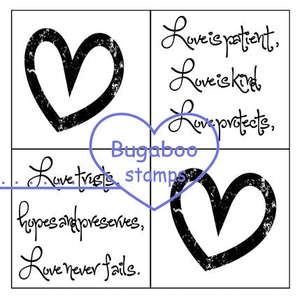 Digi Singles,Word art/ Sentiments,4 square - Love,Bugaboo Stamps,