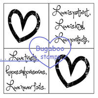 Digi Singles,Word art/ Sentiments, 4 square - Love,Bugaboo Stamps,