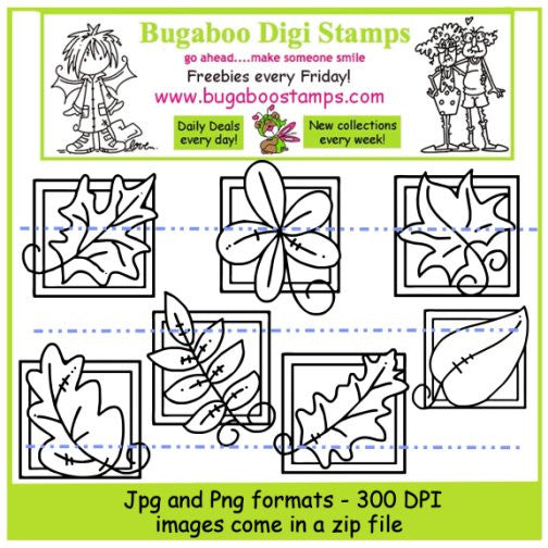 Digi Singles,Digi Sets,Mini Set  - Leaf blocks,Bugaboo Stamps,